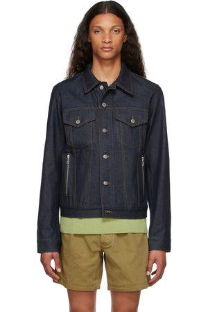 Dries Van Noten Men Denim Jackets - Indigo Raw Denim Contrast Stitch Jacket