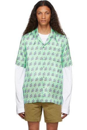 Dries Van Noten Green Viscose Printed Short Sleeve Shirt