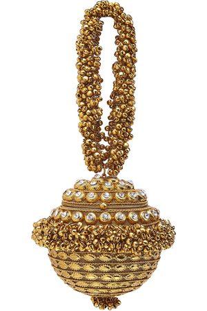 Women Clutches - Artisanal Gold Silk Simi Sparkle Bag Mae Cassidy