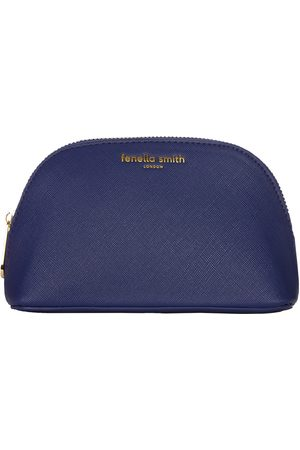 Fenella Smith Navy Vegan Leather Oyster Cosmetic Case
