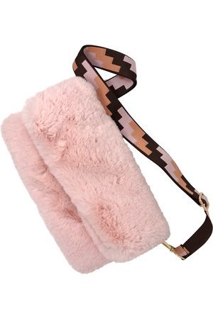 Luggage - Artisanal Pink Fabric Faux Fur- Super Soft- Baby Bag With Colourful Strap Rebecca J Mills Designs