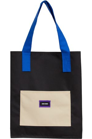 Women Luggage - Artisanal Black Cotton Tall Upcycled Tote Bag - - & Blue & Beige ODD END Studio