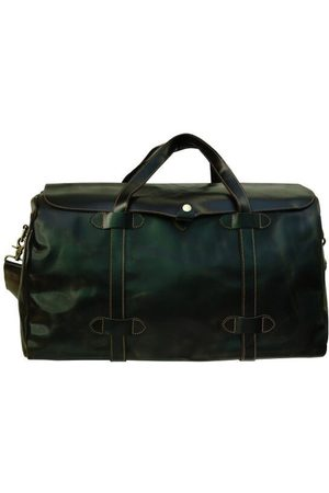 Touri Genuine Leather Holdall With Stitched Detail In Dark