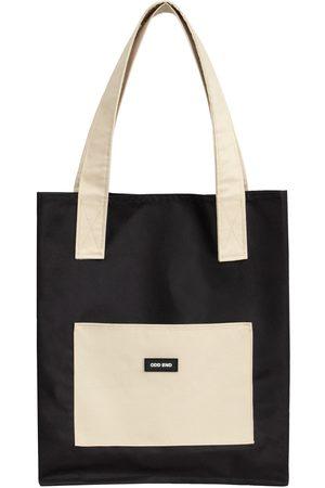 Women Luggage - Artisanal Black Cotton Tall Upcycled Tote Bag - & Beige ODD END Studio