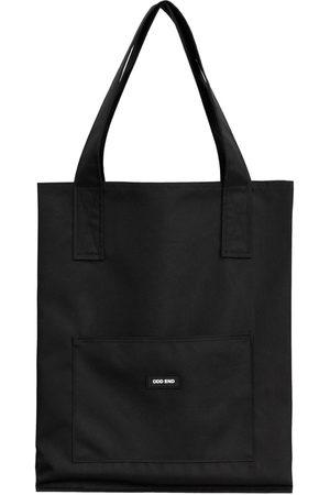 Women Luggage - Artisanal Black Cotton Tall Upcycled Tote Bag ODD END Studio
