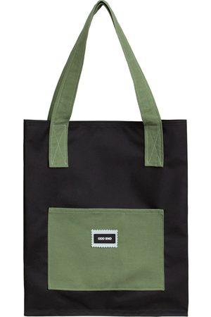 Women Luggage - Artisanal Black Cotton Tall Upcycled Tote Bag - & Green ODD END Studio