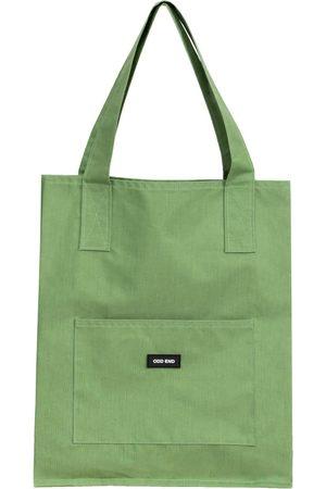 Women Luggage - Artisanal Green Cotton Tall Upcycled Tote Bag - ODD END Studio