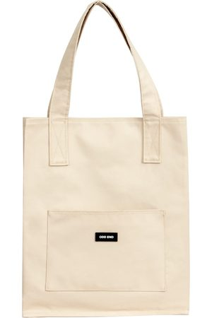 Women Luggage - Artisanal Natural Cotton Tall Upcycled Tote Bag - - Beige ODD END Studio