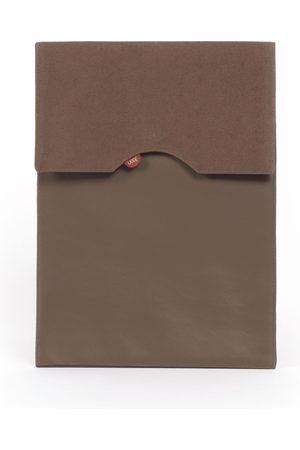 Men Luggage - Artisanal Brown Leather Canvas Faux Men Laptop Sleeve Chocolate 13'In Joon