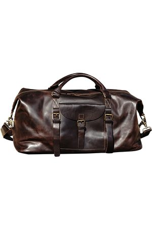 Non-Toxic Dyes Brown Cotton Front Pocket Genuine Leather Holdall In Chocalate Touri