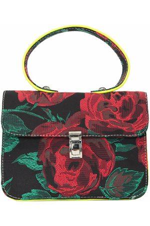 Artisanal Grey Silk Mini Satchel Shoulder Bag In Rescued Floral Brocade L2R THE LABEL