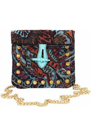 Artisanal Teal Silk Square Satchel Belt Bag L2R THE LABEL
