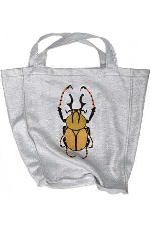 Artisanal Gold Cotton Shopping Beach Bag & Embroidery Julia Allert