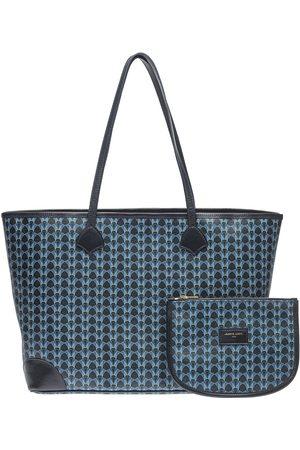 Women Luggage - Non-Toxic Dyes Blue Leather Tote Overflow Marine Medium KARINE AUGIS