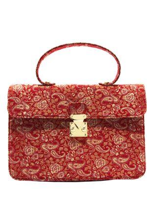 Artisanal Red Silk Satchel Shoulder Bag In L2R THE LABEL