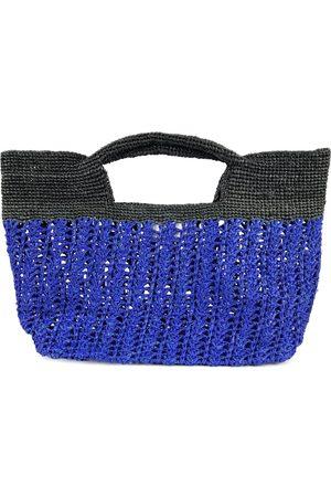 Artisanal Black Ines Odette Raffia Tote Bag- Blue/ MARAINA LONDON