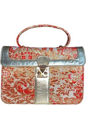 Artisanal Gold Silk Satchel Shoulder Bag In Red L2R THE LABEL