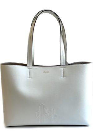Artisanal White Cotton Cactus Leather Tote Bag Mianqa