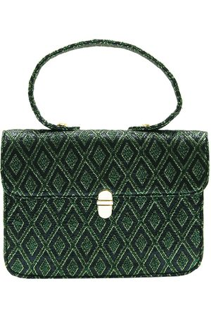 Women Purses - Artisanal Green Silk Mini Satchel Shoulder Bag In Rescued & Gold Brocade L2R THE LABEL