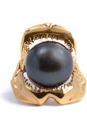 Men Neckties - Men's Artisanal Pearl Shark Jawbone & Tie Pin Gold Lee Renee