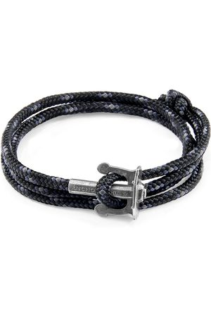 Men's Artisanal Black Union Anchor Silver & Rope Bracelet ANCHOR & CREW