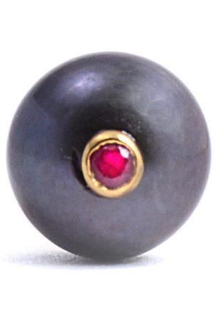 Men's Artisanal Black Peacock Pearl & Ruby Tie Pin Lee Renee