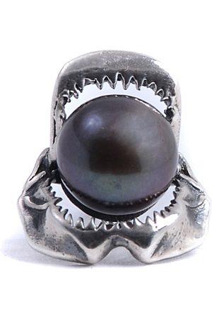 Lee Renee Shark Jawbone Tie Pin Pearl & Silver