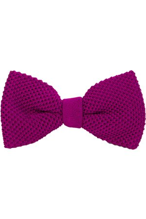 Men's Artisanal Plum Silk Solid Knitted Bow Tie 40 Colori