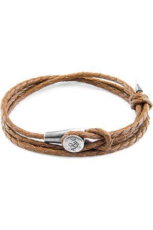 Men Bracelets - Men's Artisanal Silver Leather Light Brown Dundee & Braided Bracelet ANCHOR & CREW