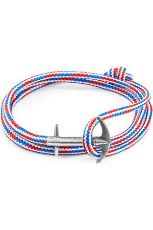 Men Bracelets - Men's Artisanal Blue Project Rwb Red White & Admiral Anchor Silver & Rope Bracelet ANCHOR & CREW
