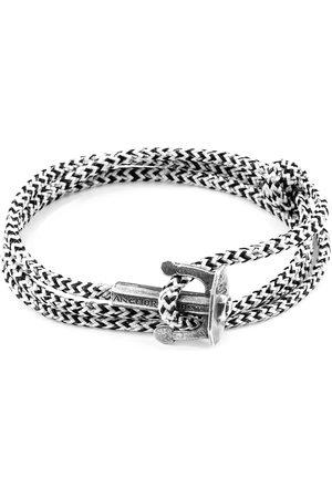 Men Bracelets - Men's Artisanal White Noir Union Anchor Silver & Rope Bracelet ANCHOR & CREW