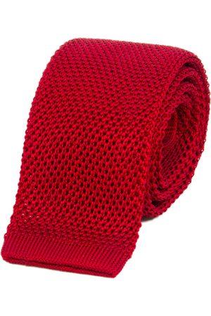 Men Neckties - Men's Artisanal Red Silk Ruby Solid Knitted Tie 40 Colori