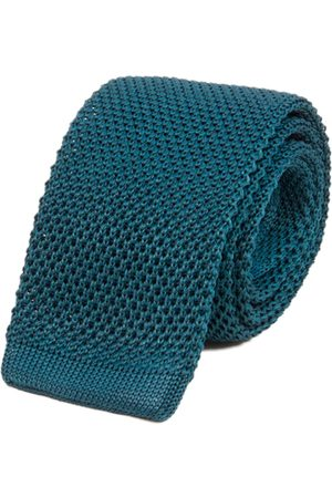 Men's Artisanal Blue Silk Petrol Solid Knitted Tie 40 Colori