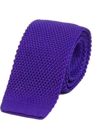 Men Neckties - Men's Artisanal Royal Blue Silk Solid Knitted Tie 40 Colori