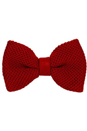 Men Bow Ties - Men's Artisanal Red Silk Solid Knitted Bow Tie 40 Colori
