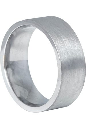 Men Rings - Men's Low-Impact White Gold 9Ct Flat Matt Comfort Fit Ring 8Mm A Wide Heavy Weight Wedding Band With A Matte Finish Edge Only