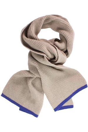 Men Scarves - Men's Artisanal Blue Wool Beige Petrol Ribbed & Cashmere Scarf Small 40 Colori