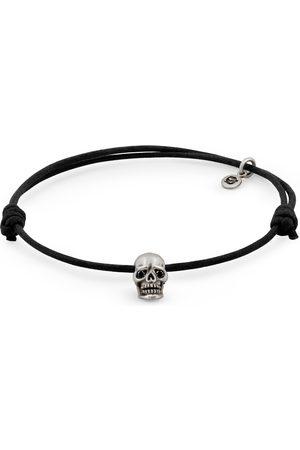 Men Bracelets - Men's Black Cotton Skull Bracelet Snake Bones