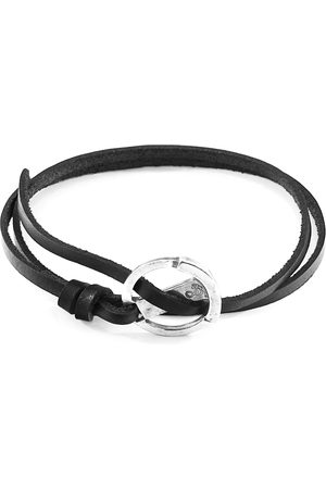 Men Bracelets - Men's Artisanal Black Leather Coal Ketch Anchor Silver & Flat Bracelet ANCHOR & CREW
