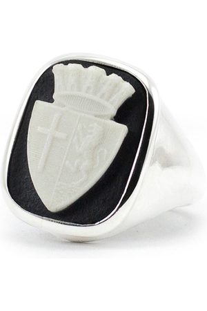Men's Artisanal Silver Insignia Cameo Signet Ring Vintouch Italy