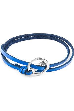 Men Bracelets - Men's Artisanal Royal Blue Leather Ketch Anchor Silver & Flat Bracelet ANCHOR & CREW