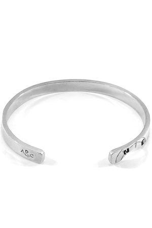 Men Bracelets - Men's Artisanal Silver Russell Compass Cutout Wayfarer Bangle ANCHOR & CREW