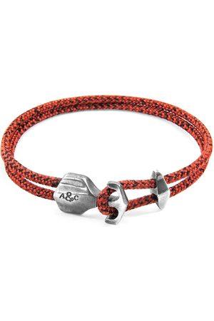 Men Bracelets - Men's Artisanal Silver Red Noir Delta Anchor & Rope Bracelet ANCHOR & CREW