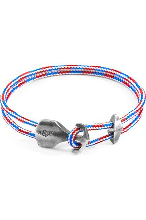 Men Bracelets - Men's Artisanal Blue Project Rwb Red White & Delta Anchor Silver & Rope Bracelet ANCHOR & CREW