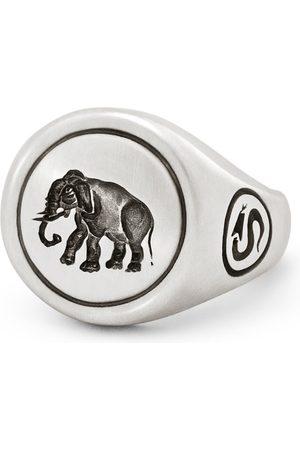 Snake Bones Elephant Signet Ring In Sterling