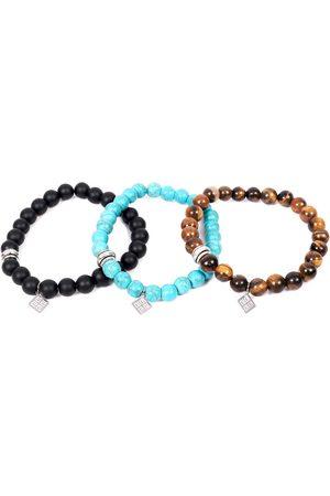 Men Bracelets - Men's Blue Stainless Steel Set Of Three Beads Bracelets SARTESORI