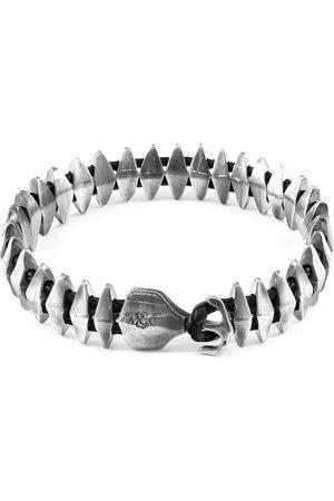 Men Bracelets - Men's Artisanal Black Leather Coal Delta Anchor Maxi Silver & Braided Bracelet ANCHOR & CREW