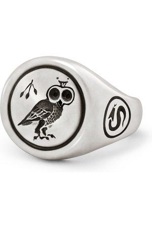 Snake Bones Owl Signet Ring In Sterling