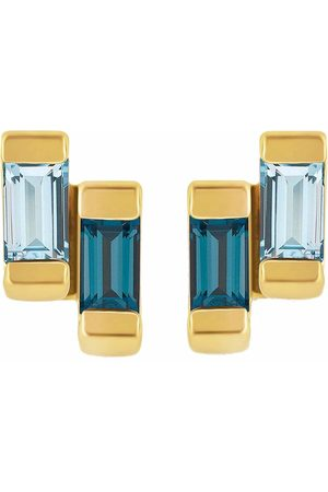 Women's Low-Impact Blue Anais Gold Stud Earring With London & Topaz Neola