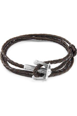 Men Bracelets - Men's Artisanal Silver Leather Dark Brown Union Anchor & Braided Bracelet ANCHOR & CREW